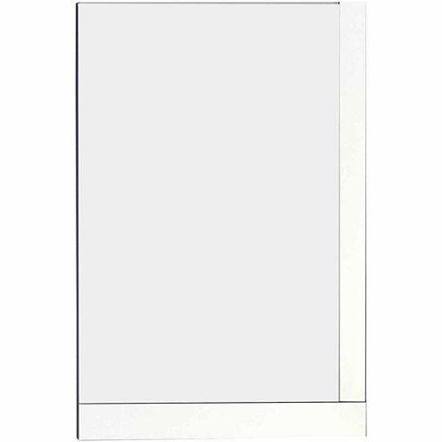 American Imaginations 23.5-in. W X 35.5-in. H Modern Plywood-Veneer Wood Mirror In White