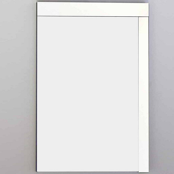 American Imaginations 23.5-in. W X 35.5-in. H Modern Plywood-Veneer Wood Mirror In White