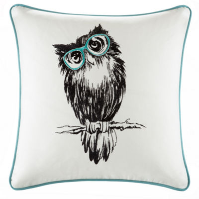 Owlfred Owl Embroidered Cotton Square Throw Pillow