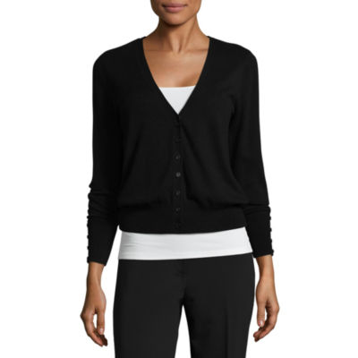 Worthington® Long-Sleeve Button-Front Cardigan Petites