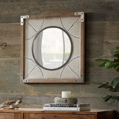 INK + IVY Axel Diamond Wood Frame Mirror