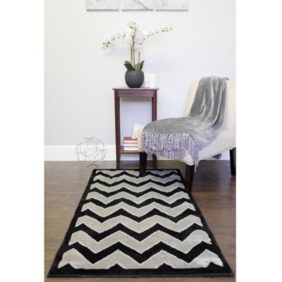 Allysum 2-Tone Chevron Stripe Decorative 3' x 5' Floor Area Rug Carpet