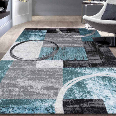 World Rug Gallery Contemporary Abstract Circle Rectangular Rugs