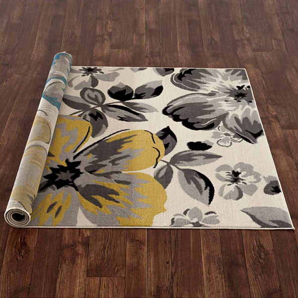 World Rug Gallery Modern Floral Circles Rectangular Rugs