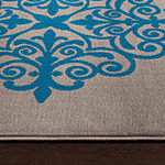 World Rug Gallery Modern Geometric Damask Design Rectangular Rug