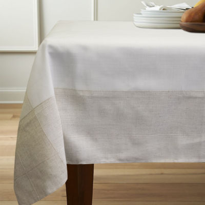 """Bohemia Collection Polyester Fabric Faux Linen Tablecloth 60"""" x 84"""""""