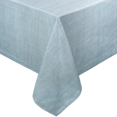 "Café Deauville Chambray Vinyl 70"" Round Tablecloth Flannel Backing"