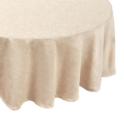 """Café Deauville Chambray Vinyl 70"""" Round Tablecloth Flannel Backing"""