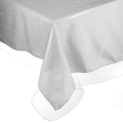 Easy Care Super Clear Vinyl Tablecloth Protector Sewn Edges