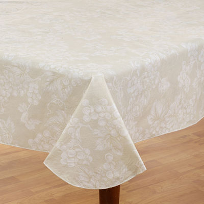 """Grapevine Collection Vinyl Flannel Back Tablecloth 60"""" x 84""""- Ivory"""