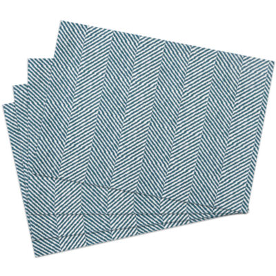 "Table Placemat Set 100% Cotton Trends Feather Pattern 13""x19"" 4 Pack"