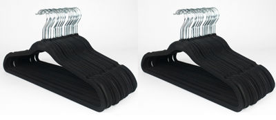 Ultra Thin No Slip Black Velvet Suit Dress Shirt Hanger Set of 50