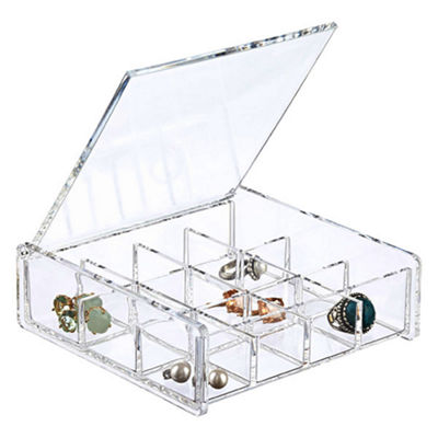 6 Square Clear Acrylic 12 Compartment Cosmetic Makeup Jewelry Organizer