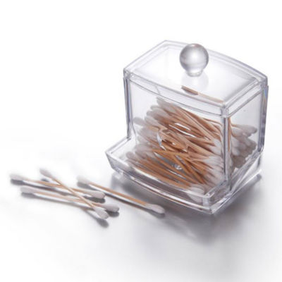 Acrylic Cosmetic Organizer- Cotton Swab Holder with Lid