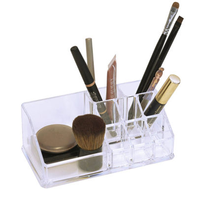 Acrylic Cosmetic Organizer- 9 Compartment Brush and Cosmetics Holder