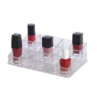 Clear Acrylic 15 Compartment Nail Polish Makeup Cosmetic Organizer Holder