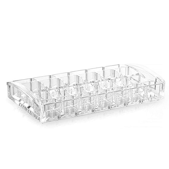 "Acrylic Cosmetic Organizer- 28 Compartment Lipstick and Nail Polish Holder (8.7"" x 4.9"" x 1.4"")"