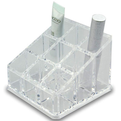 "Acrylic Cosmetic Organizer- 9 Compartment Lipstick and Nail Polish Holder (4.75""x4.75""x2.75"")"
