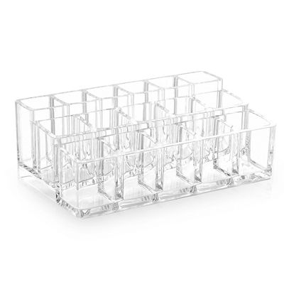 "Acrylic Cosmetic Organizer- 16 Compartment Lipstick and Nail Polish Holder (6.7"" x 3.9"" x 2.4"")"
