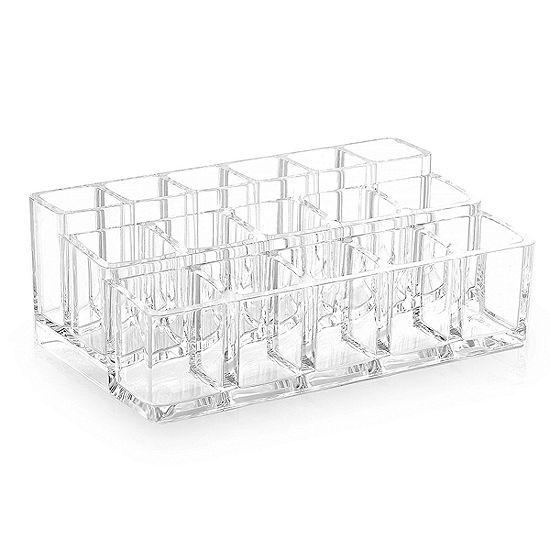 "Acrylic Cosmetic Organizer- 16 Compartment Lipstick and Nail Polish Holder (6.7"" x 3.9"" x 2.4"")"