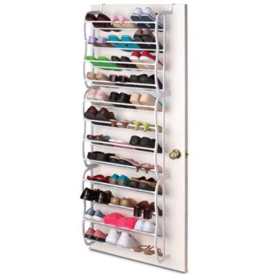 Sunbeam Over The Door 36 Pair 12 Tier White Hanging Boot Shoe Organizer Rack