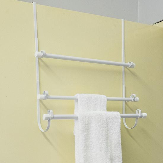 Epoxy Steel Over The Door Bathroom White Towel Hanger Organizer 3 Bar Rack