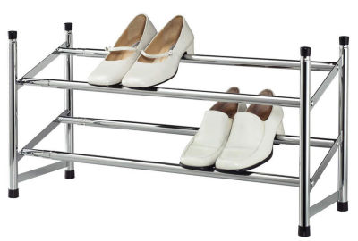 Expandable Space Saving Two Tier Chrome Bedroom Closet 8 Pair Shoe Rack