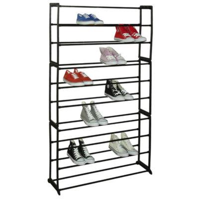 Sunbeam Free Standing 50 Pair 10 Tier Tower Metal Shoe Storage Rack Black