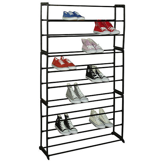 Sunbeam Free Standing 50 Pair 10 Tier Tower Metal Shoe Storage Rack Black