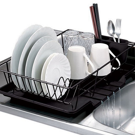 Home Basics 3-Piece Kitchen Sink Dish Drainer Set