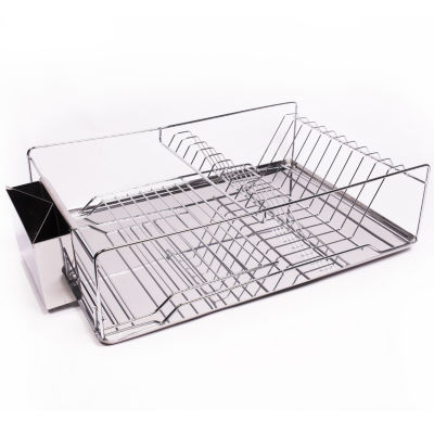 Home Basics 3-Piece Stainless Steel Chrome Kitchen Sink Dish Drainer Set