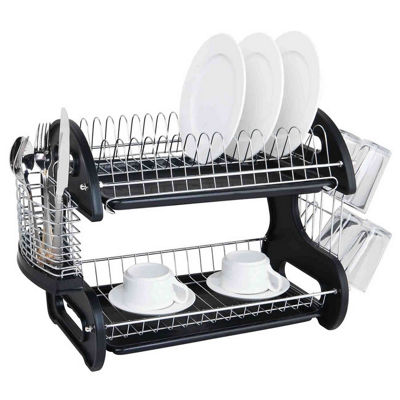 Sleek Contemporary Design 2 Tier Dish Drainer
