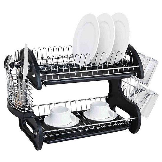 Sleek Contemporary Design 2 Tier Dish Drainer