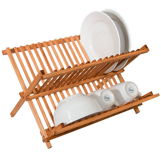 Two Level Folding Kitchen Counter Top Bamboo Dish Rack Drainer