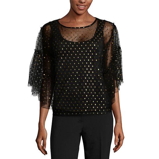 Worthington Womens Scoop Neck Short Sleeve Knit Blouse