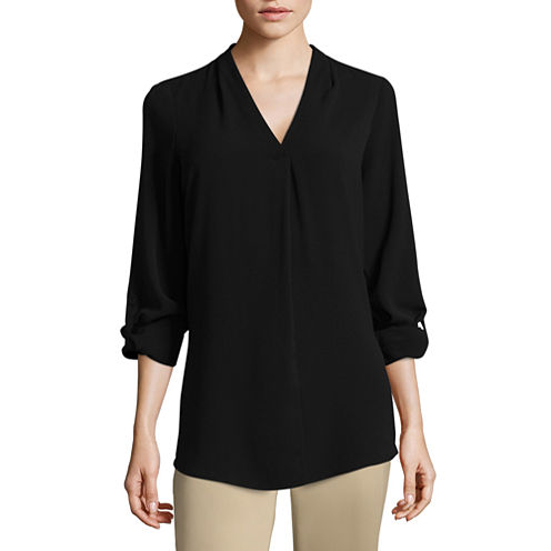 Worthington Long Sleeve V Neck Woven Blouse