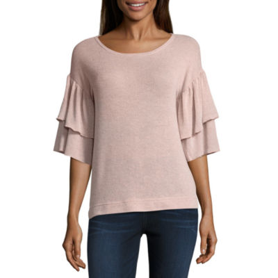 a.n.a Tierred Sleeve Sparkle Top 3/4 Sleeve Knit Blouse