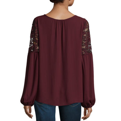 Alyx Long Sleeve Round Neck Crepe Lace Blouse