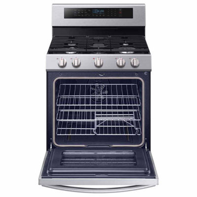 Samsung 5.8 cu. ft. Smart Wi-Fi Enabled True Convection Gas Range with Steam Reheat and Illuminated Knobs