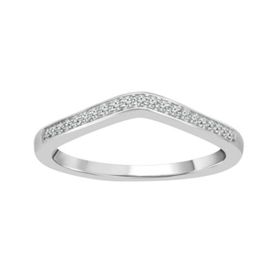 Womens 2MM Diamond Accent Genuines White Diamond 10K Gold Round Wedding Band