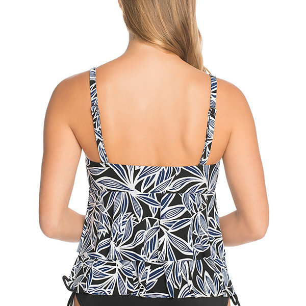 St. John's Bay Bahama Palm Rylee Tankini  Swimsuit Top
