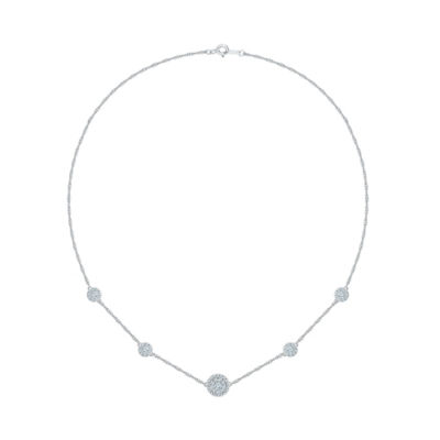 Womens 1 CT. T.W. White Diamond Sterling Silver Pendant Necklace