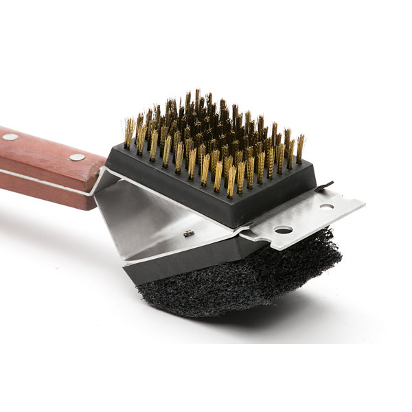 Outset BBQ Rosewood Collection 3-in-1 Grill Brushwith Bristles; Scrub Pad and Scraper