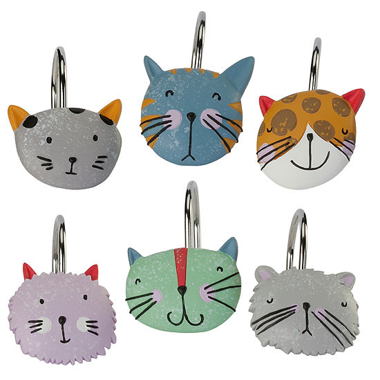 Kitty Shower Curtain Hooks
