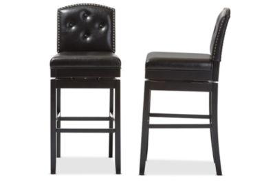 Baxton Studio Ginaro 2-pc. Upholstered Tufted Swivel Bar Stool