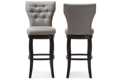 Baxton Studio Leonice 2-pc. Upholstered Tufted Swivel Bar Stool