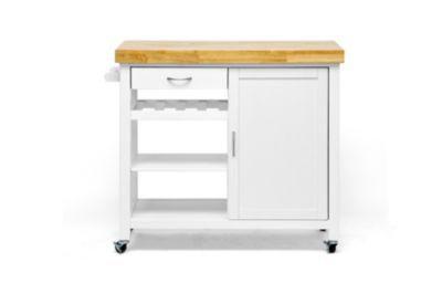 Baxton Studio Denver Wood-Top Kitchen Cart