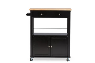 Baxton Studio Denton Wood-Top Kitchen Cart