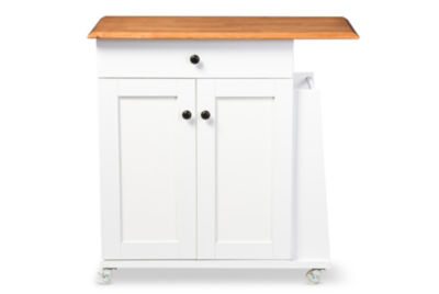 Baxton Studio Balmore Wood-Top Kitchen Cart