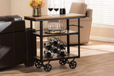 Baxton Studio Kennedy Metal-Top Serving Cart